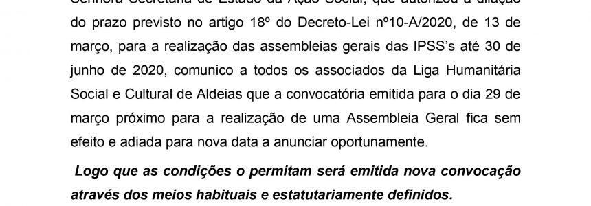 Adiamento Assembleia Geral